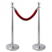 Polished Silver Rope Barrier Post